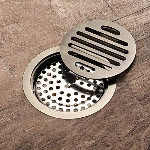ChongYang 10X10Cm messing antieke geborstelde vloer afvoer badkamer ronde vloer douche afvoer rooster afvoer sanitair