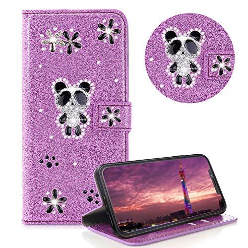 Glitzer Strass Brieftasche für iPhone 11 6.1,Lila Leder Handyhülle für iPhone 11 6.1,Moiky Luxus 3D Magnetisch Kristall Niedlich Panda Blumen Diamant Hülle mit Kartenfächer Ständer
