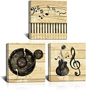 LoveHouse 3 Panel Music Wall Art Violin Canvas Art Piano Music Note Canvas Painting Vintage Artwork Home Decoration for Living Room Bedroom Stretched Ready to Hang 12x12inchx3pcs