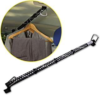 Zento Deals Heavy Duty Expandable Clothes Bar Car Hanger Rod- Convenient Classic Black Combines With Strong Metal and Rubb...