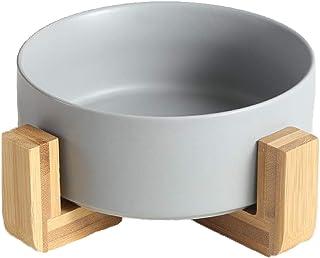کاسه گربه ای سگ گرد سرامیکی QFULL - ظرف غذای سرامیکی با دوام و آب مخصوص حیوان خانگی ، دارای پایه چوبی ، 28 اونس
