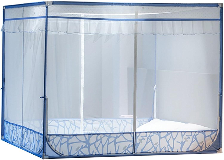 LIQICAI Moskitonetz 100% Polyester Stabiler Stand aus Eisen Insektenschutz, Bequeme 3 Tür 2 Farbe 6 Gre optional (Farbe   Blau, gre   2.00x2.20x1.55m)
