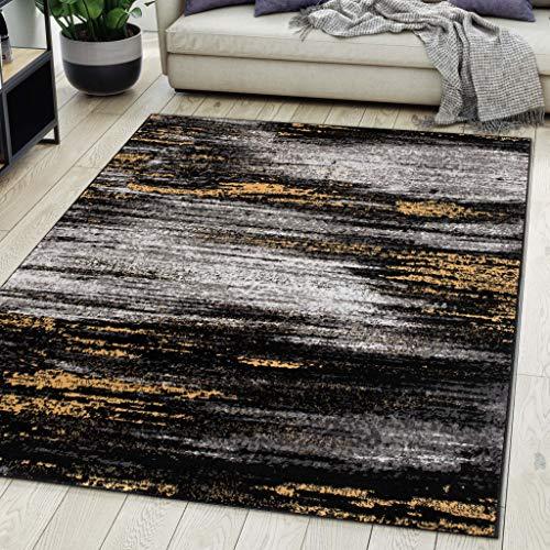 Carpeto Rugs Teppich Wohnzimmer Kurzflor Grau Modern Abstrakt Muster Öko-Tex 80 x 150 cm