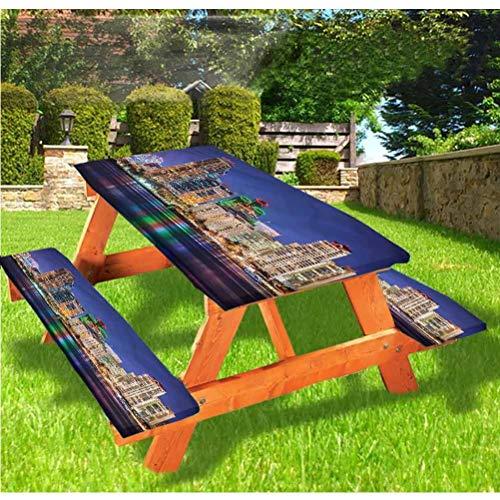 Mantel de mesa y banco de picnic de Estados Unidos, colorido Skyline of San Diego con borde elástico ajustable, 28 x 72 pulgadas, juego de 3 piezas para camping, comedor, exterior, parque, patio