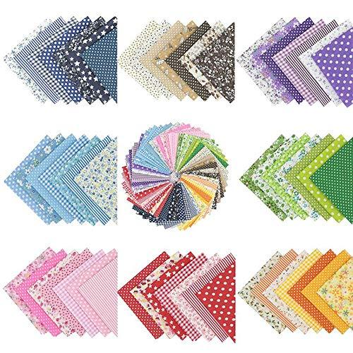 Walea 56 piezas de tela de algodón con estampado floral de 25 cm x 25 cm
