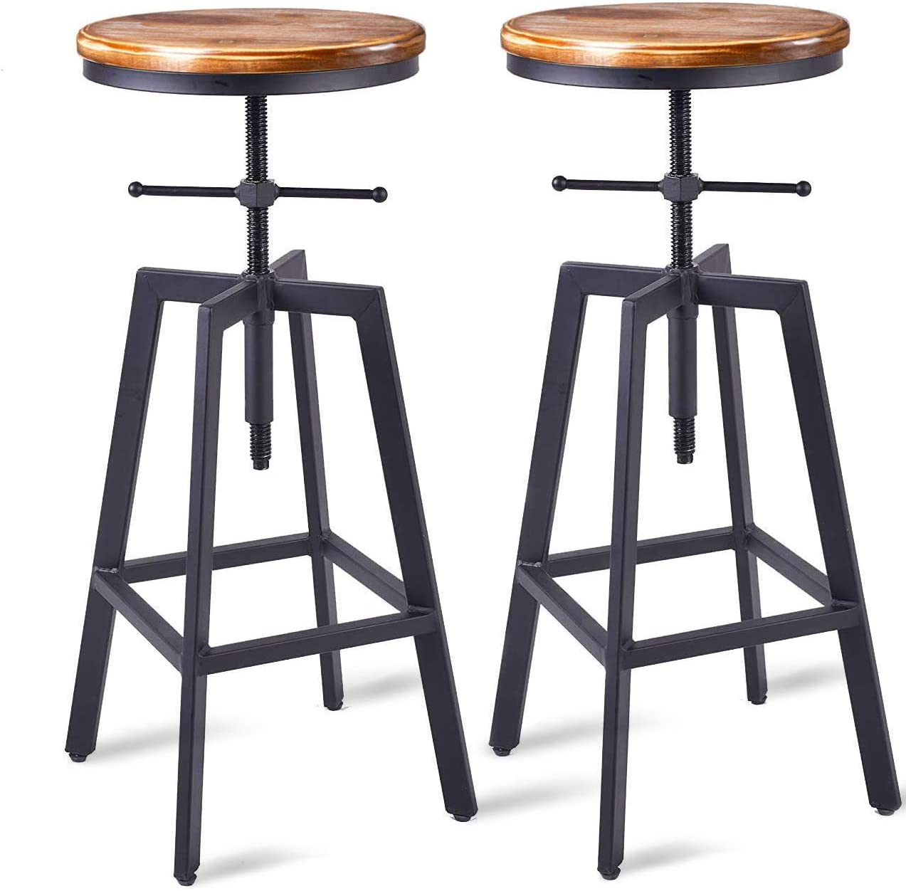 Diwhy Industrial Bar Stools,Kitchen Dining Chair,Wood Metal Bar  Stool,Adjustable Height Swivel Counter Height Bar Chair,Black,Fully Welded  Set of 9 ...
