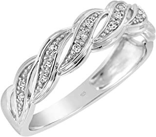 925 Sterling Silver 1/10 Cttw Conflict Free Diamond Ocean Wave Band Ring (I-J Color, I2-I3 Clarity)
