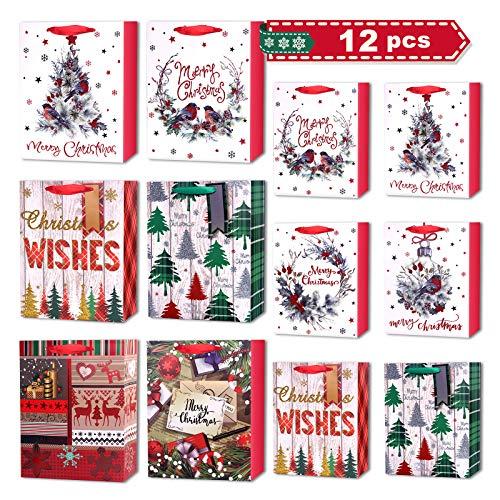 12 Stück Weihnachts Geschenktüten, LISOPO Geschenktüte Groß für Weihnachten, 6 Design 2 Größe Geschenktüten Papier, 6 x Mittlere (25x32x11cm), 6 x Kleine (18x23x10cm), Hochwertige Geschenktaschen