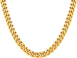 Men Chunky Miami Curb Cuban Chain Necklace 18k Real Gold Plated Stainless Steel Link Necklace for Men Women 6mm to 11mm 16 Inches to 36 Inches