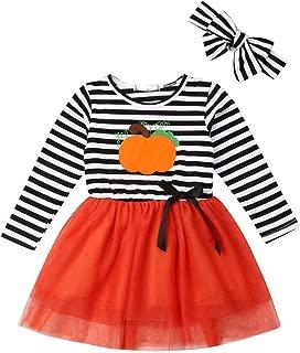 GuliriFei Toddler Girls Halloween Dress Outfits Baby Girls Costumes Pumpkin Print Dress with Headband Sets