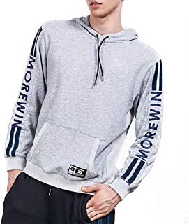 Casual Long Sleeve Front Pocket Letter Prints Pullover Hoodie Men's (Color : Gray, Size : 2XL)