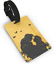 Luggage Tags, PVC Trendy Beauty And The Beast Print, Suitcase ID Labels Travel Accessory With Detachable Wristband