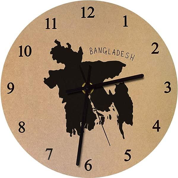 Azeeda 275mm Bangladesh Country Large Wooden Clock CK00020631