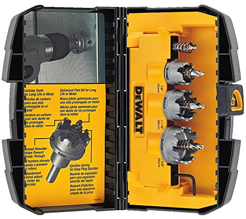 DEWALT Hole Saw Kit, Metal Cutting, Carbide, 3-Piece (DWACM1802)