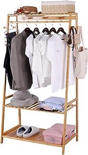 unho Portant À Vêtement Solide, Penderie Vêtement Armoire Rangement pour Vêtements et Penderies en Bambou Portique Vêtemen...