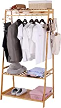 UNHO Bamboo Garment Rack Large Clothes Rack Coat Stand Heavy Duty Clothes Hanging Rack with 3 Tier Storage Shelves 10 Hook...