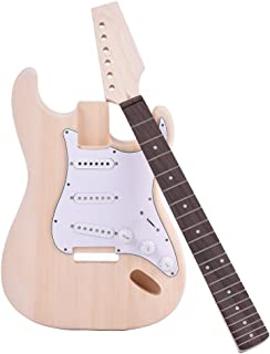 ammoon ST Estilo Guitarra Eléctrica Tilo Cuerpo Arce Cuello Diapasón de Palisandro DIY Kit
