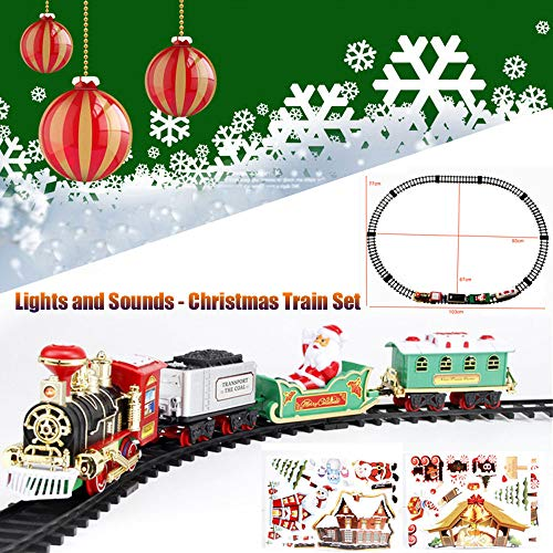Classic Christmas Train Toy Set, Round Railway Tracks Surround The Christmas Tree, Battery Operated Tracks Playset, Best Gift Choice for Kids Boys and Girls (B)