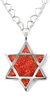 925 Sterling Silver Star of David Necklace Jewish Shield Pendant Handmade Polymer Clay, 16.5