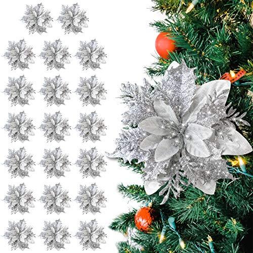 Fansport 20pc Weihnachtsblumen Künstlich Blumendekoration,Weihnachtlicher Zierschmuck Christbaumanhänger Weihnachten Künstliche Blume Für Weihnachten Weihnachtsbaum Kranz Garland Ornament
