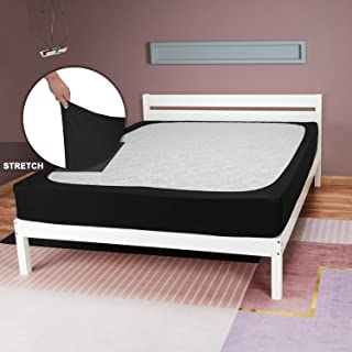 Barossa Design StretchWrap Box Spring Cover Replacing Your Bed Skirt: 4 Way Stretch Knit & Snug Fit, Ultra Soft, Wrinkle Free, Use for Hotel and Home - Queen, Black