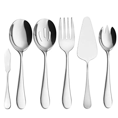 Serving Utensils, Buffet Serving set, AOOSY 6 Pieces Basics Serving Utensils Stainless Steel Knife Fork Spoon Tablespoons For Home Chef Commercial Use Buffet Breakfast Dinner Set