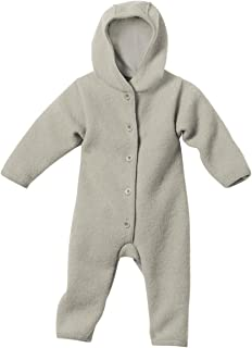 DISANA 100% ORGANIC BOILED WOOL OVERALL ROMPER HOODED NEWBORN/BABY MADE IN GERMANY (3-6 months (62-68), Grey)