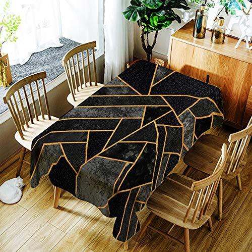 JUNGEN Mantel de Mesa Mantel Cuadrado 140x140cm Mantel Antimanchas Mantel Impermeable Mantel Estampado geometrico Accesorios de decoración del hogar (Negro)