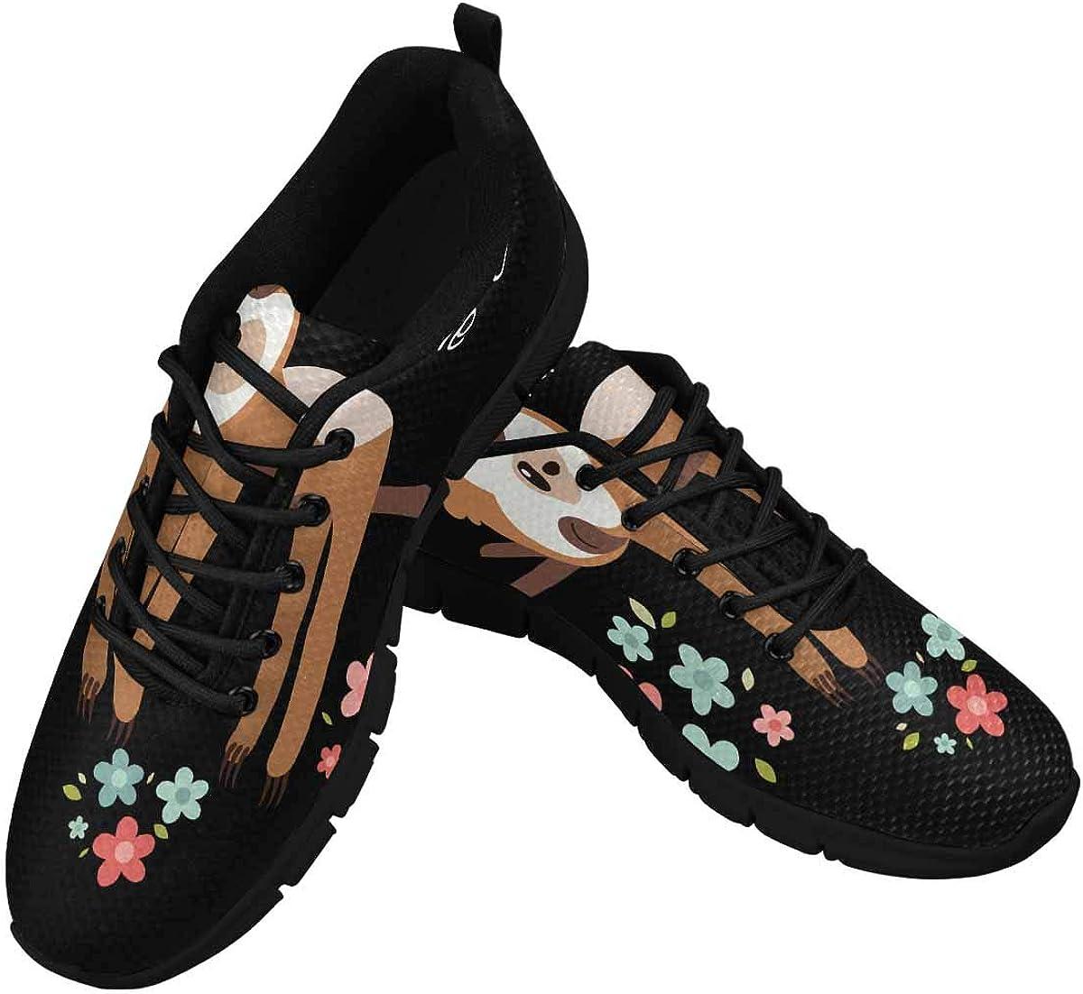 InterestPrint Cute Sleeping Sloth Women's Athletic Walking Shoes Comfort Mesh Non Slip