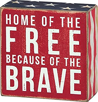 Primitives by Kathy 23148 Patriotic Box Sign 4 x 4 Home Of The Free