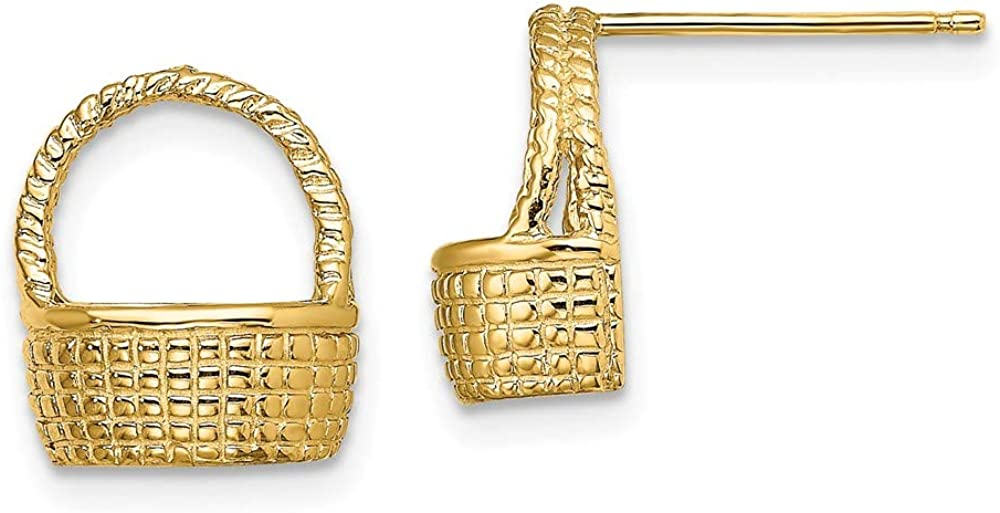Solid 14k Yellow Gold BASKET Post Studs EARRINGS / 2-D FLAT BACK ((1of2) - 12mm x 10mm