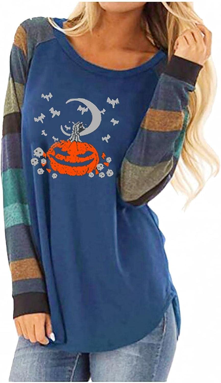 Women Long Sleeve Tops,Women's Halloween Pumpkin Skeleton Printed Long Sleeve Colorblock Loose Slouchy Pullover Tops