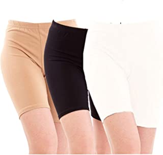 Pixie Biowashed 220 GSM Biowashed 220 GSM Cotton Lycra Cycling Shorts for Girls/Women/Ladies Combo (Pack of 3) Beige, Black and White - Free Size