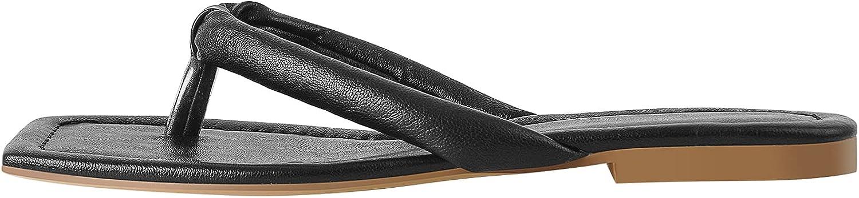 LISHAN Women's Flip Flop Square Open Toe Slip On Flat Sandals