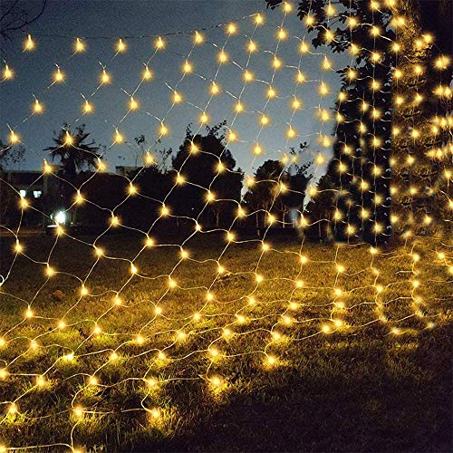 gresonic Net Mesh Lights,160 LEDs 6.5ft x 3.2ft Waterproof String Lights for Christmas Trees,Bushes,Holiday,Party,Outdoor Garden,Wedding Decorations(Warm White)
