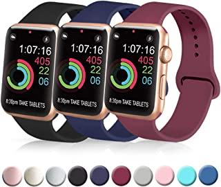 [3 Pack] Silicone Bands Compatible with Apple Watch Bands 38mm 40mm 42mm 44mm, Soft Wristbands Compatible with iWatch Bands (Black/Navy Blue/Wine Red, 38mm/40mm-M/L)