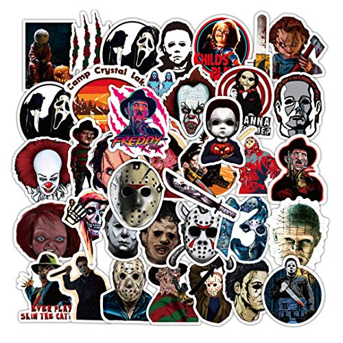 50Pcs Thriller Horror Movie Killer Role Character Stickers for Water Bottle Cup Laptop Guitar Car Motorcycle Bike Skateboard Luggage Box Vinyl Waterproof Graffiti Patches XQX