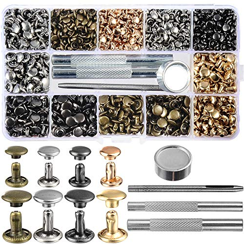640 Sets Mixed Color Leather Rivets Kit Mixed Size Double Cap Rivets Garment Rivets with Rivet Press Setter Tool for Leather Craft Clothing Shoes Belts Bags Accessories 4 Color 2 Sizes