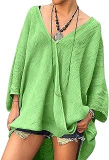 GAGA Women's V Neck Solid Color Long Sleeve Irregular Hem Loose Casual Tops T Shirts