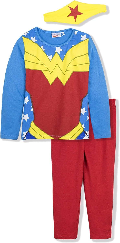 Conjunto de pijama de manga larga para niña DC Wonder Woman o Batgirl Superhero de pijama para mujer murciélago de 3 a 10 años