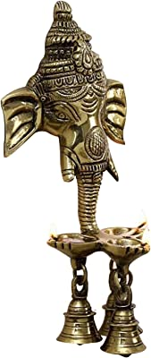 White Whale Handcrafted Antique Look Brass Statue/Idol Ganesha Wall Hanging with Diyas and Bells 9.5 inch