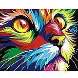 DonElton Pintar por numeros Adultos – Cuadros para Pintar por números con Pinceles y Colores Brillantes - Lienzos para Pintar con Dibujo – Sin Marco (Gato)