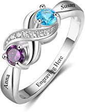 Love Jewelry 925 Sterling Silver Personalized Infinity Mothers Rings with 2 Round Simulated Birthstones Custom Engraved Engagement Promise Rings for Women