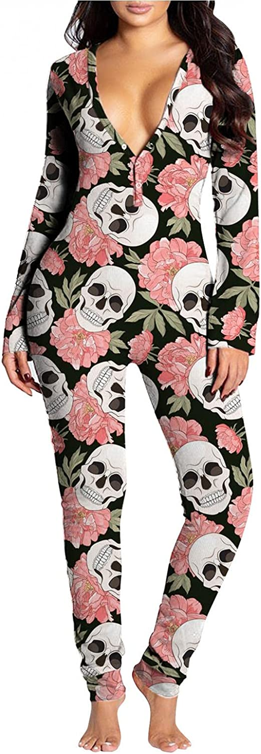 Gibobby Pajamas for Women Halloween Print Button-Down Sleepwear Button Flap Adults Long Sleeve Jumpsuit V Neck Soft Nightgown