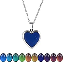 """FM FM42 Temperature Sensing Color Changing Pendant Necklace with 19.29"""" Stainless Steel Rolo Chain (18 Styles)"""