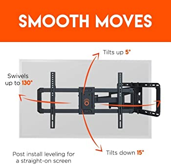 """ECHOGEAR Full Motion Articulating TV Wall Mount Bracket for 42""""-86"""" TVs - Easy To Install On 16"""", 18"""" or 24"""" Studs an..."""
