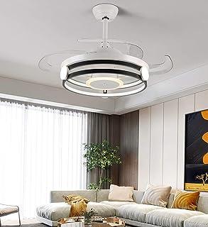 Ventilador de Techo Moderno con Luz, 4 Aspas Retráctiles Lámpara LED Remota de 60 W 3 Cambios de Color 3 Velocidades, Motor Silencioso con Kits de LED Incluidos