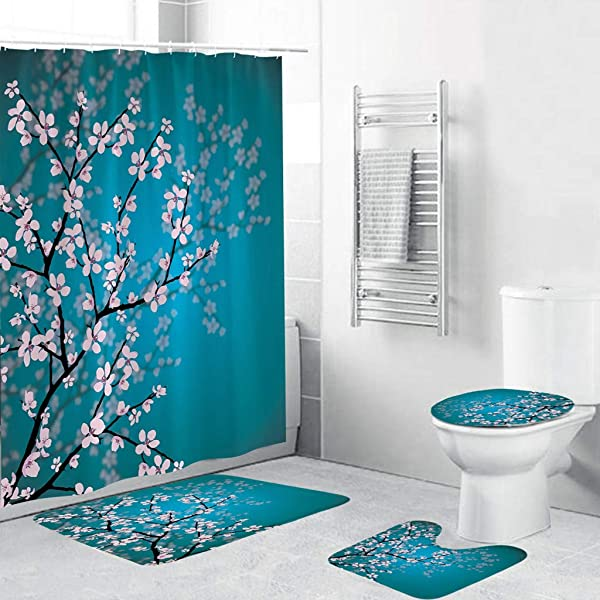 Beyonds Bathroom Mat Sets 4 Piece With 12 Hook Colorful Floral Carpet Doormats Decor Shower Curtain And Rugs Bath Mat For Tub Kids Floor Non Slip Rose Flower Cactus Shower Curtain Bathroom Mat