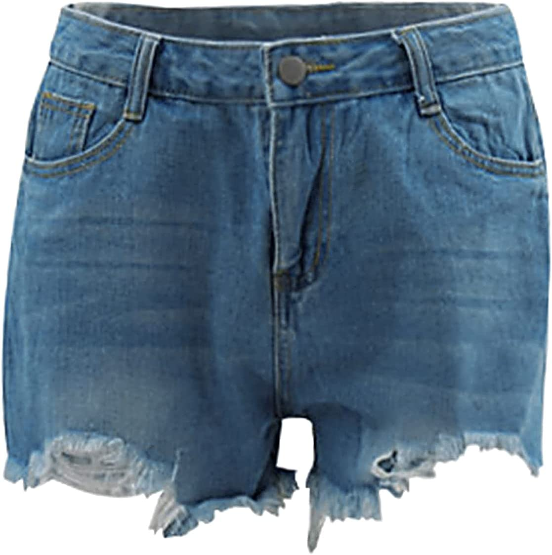 Mid Waist Frayed Denim Shorts for Women Summer Washed Distressed Jean Hot Pants Casual Stretchy Pocketed Short Jeans (Light Blue,XX-Large)