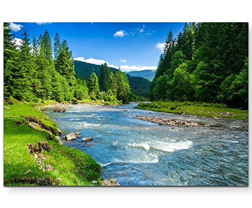 Paul Sinus Art Leinwandbilder | Bilder Leinwand 120x80cm wunderschöne Landschaft mit Bergen, Wald und Bach